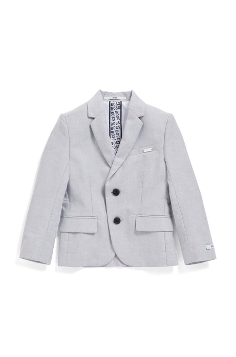 Veste Slim Fit pour enfant en chambray de coton stretch, Gris chiné