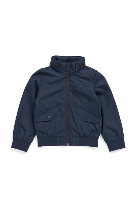 Giacca a vento da bambino idrorepellente con cappuccio ripiegabile, Blu scuro