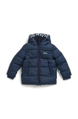 Kids' water-repellent jacket with fleece-lined logo hood, Dark Blue