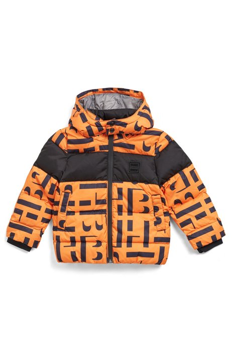 Donsjas voor kinderen, van monogrammateriaal met afneembare capuchon, Oranje