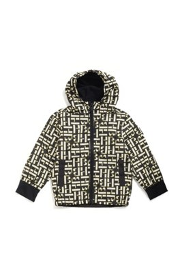 Kids' water-repellent windbreaker with all-over monogram print, Patterned