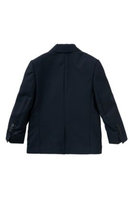 Plain-coloured kids' jacket in wool with an integral pocket square: 'J26U07', Dark Blue
