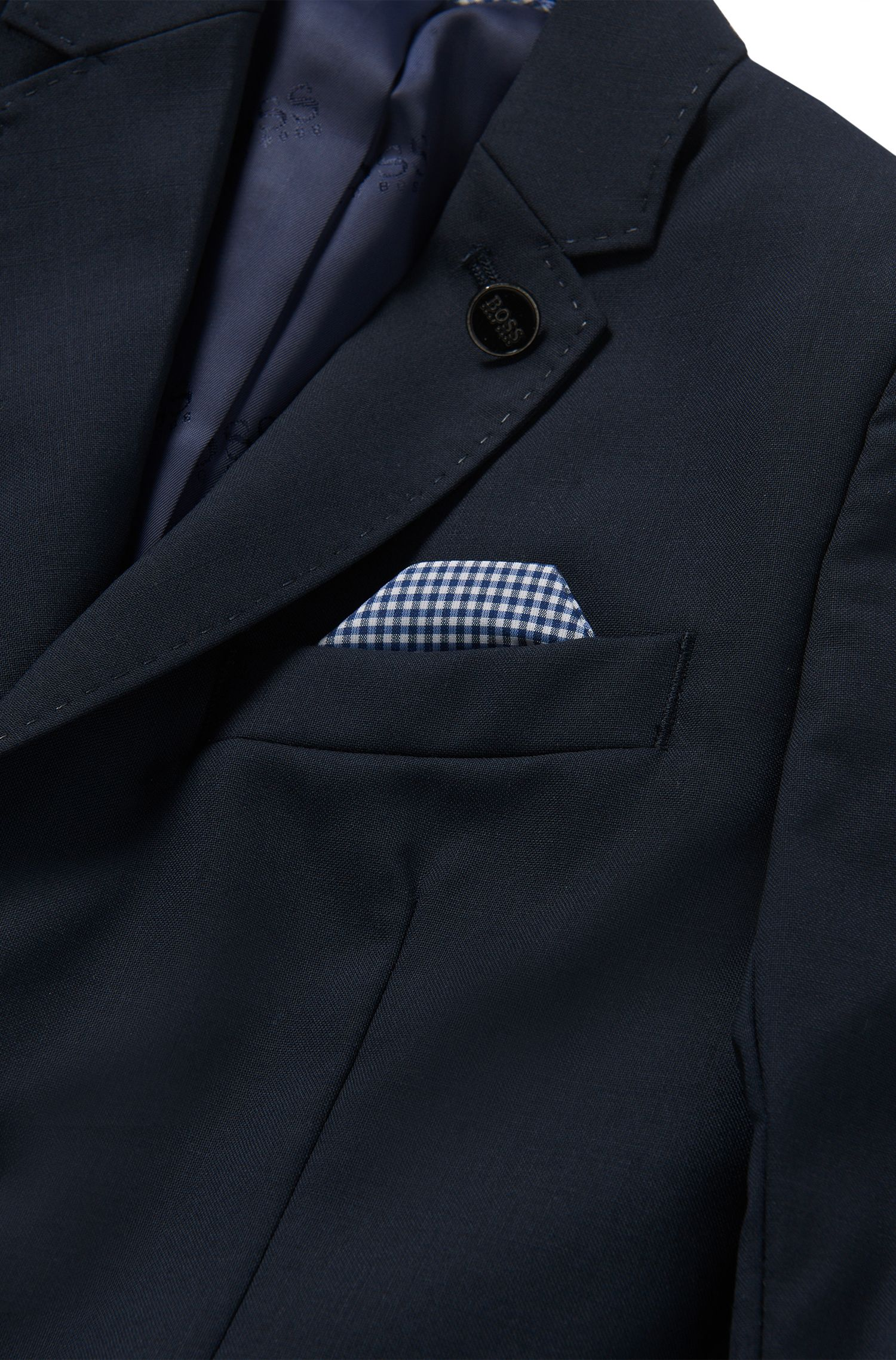 Plain-coloured kids' jacket in wool with an integral pocket square: 'J26U07'