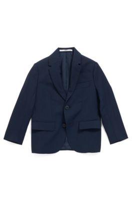 Chaqueta regular fit para niños en lana con forro grabado, Azul oscuro