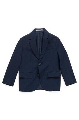 Veste Regular Fit pour enfant en laine, avec doublure embossée, Bleu foncé