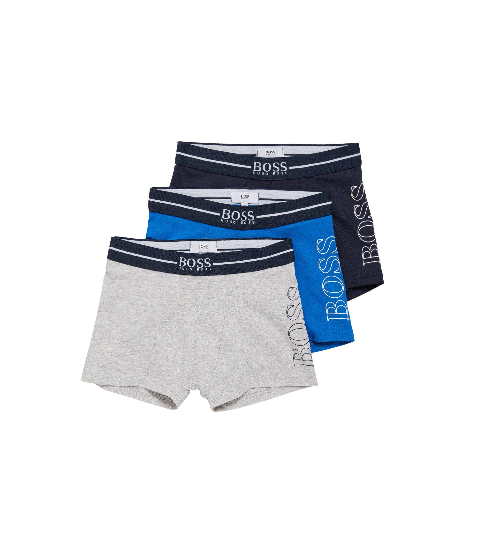 Lot de trois boxers pour enfant en coton stretch: «J27061», Bleu foncé