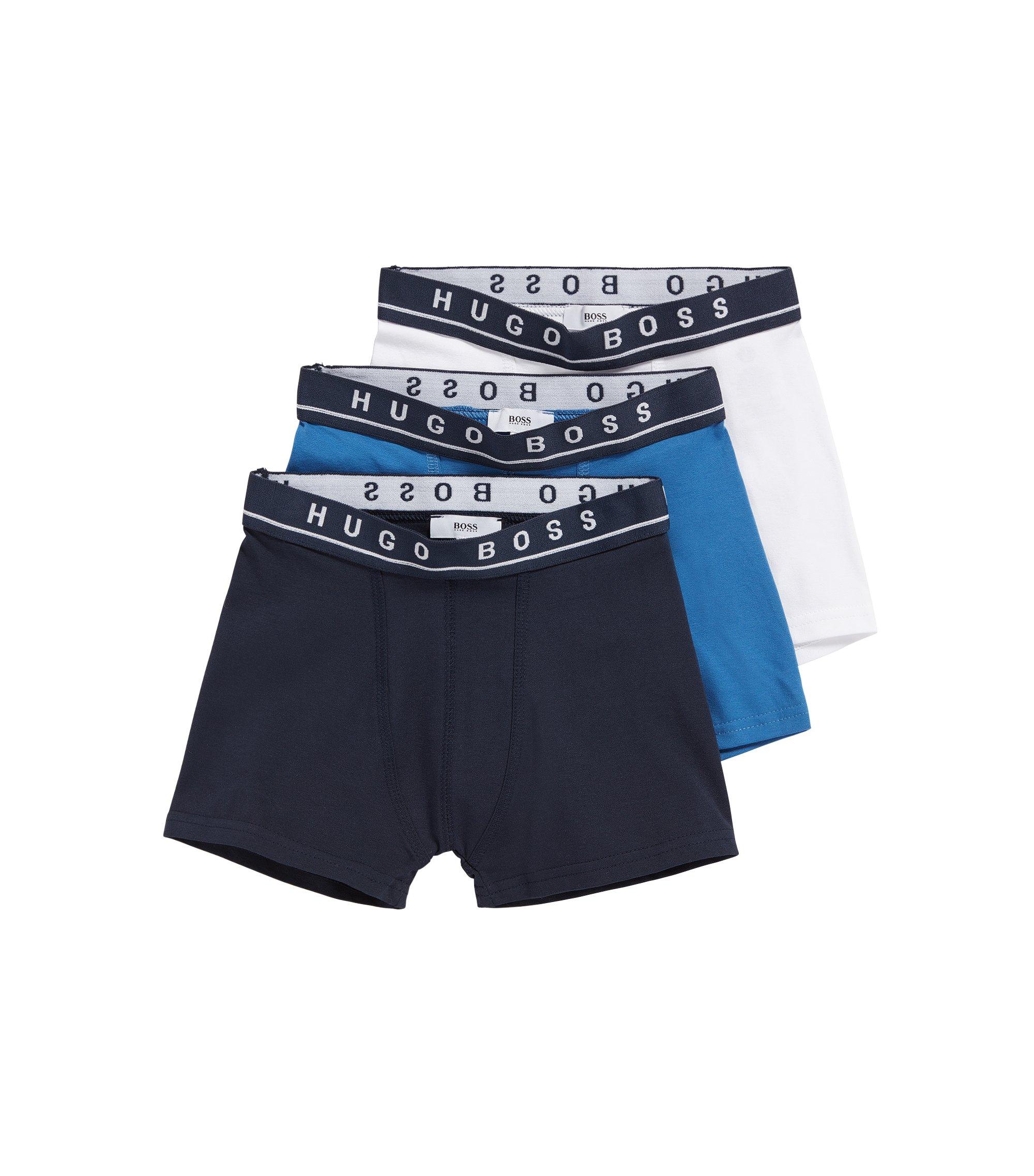 Lot de trois boxers pour enfant en coton, Bleu foncé