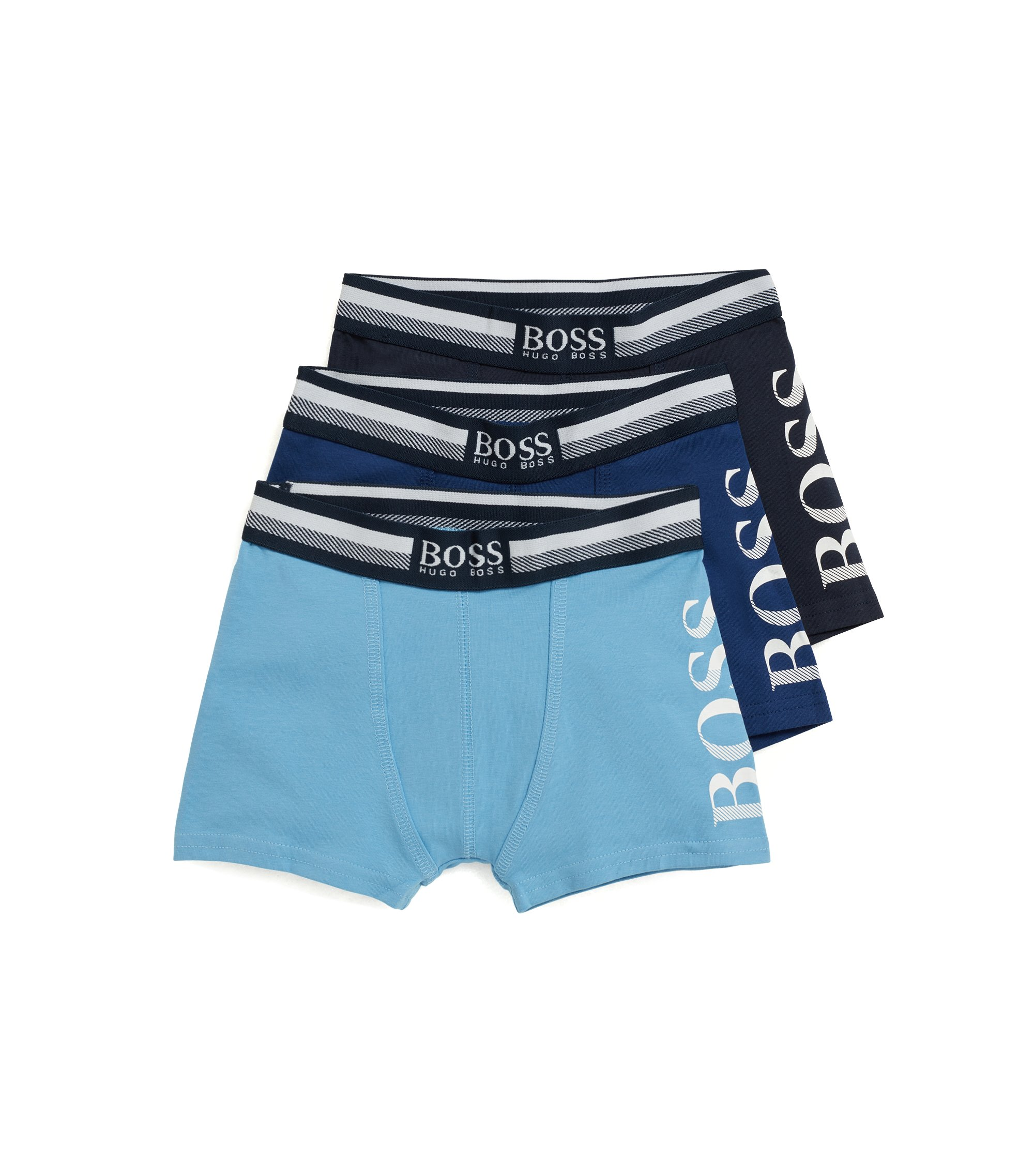Lot de trois boxers longs en coton stretch pour enfant, Turquoise