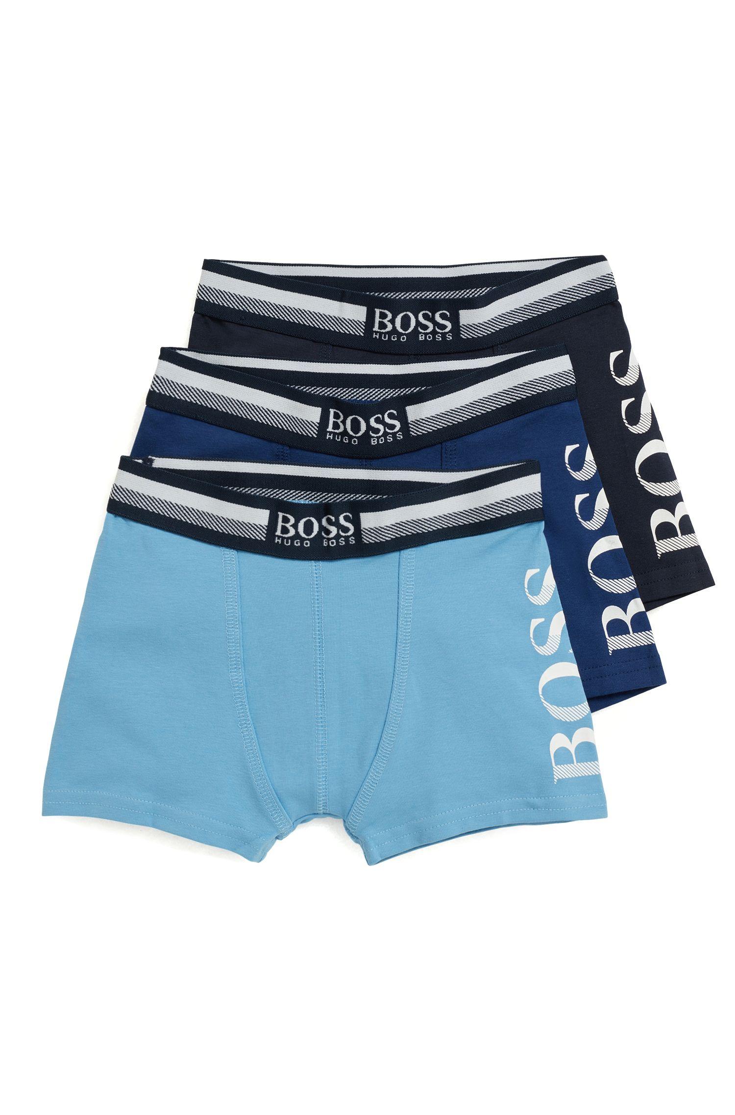 Lot de trois boxers longs en coton stretch pour enfant