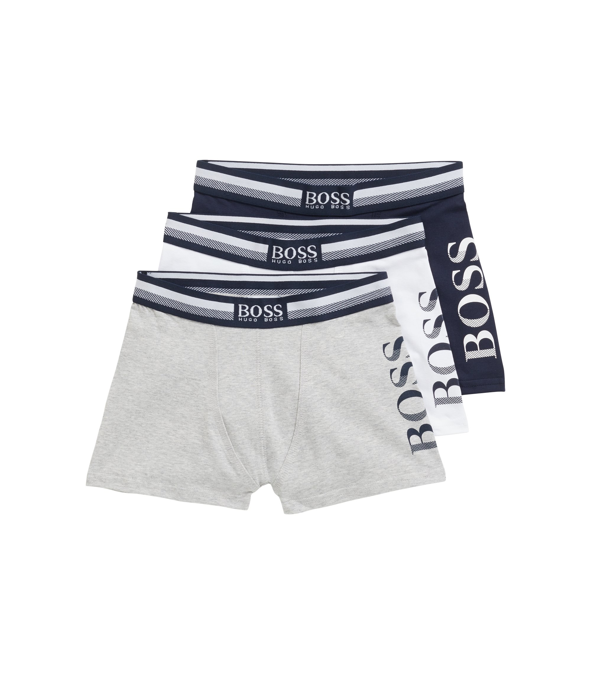 Kids' three-pack of boxer briefs with logo waistband, Dark Blue