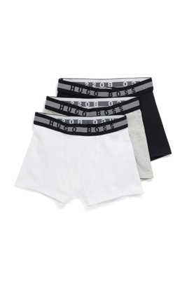 Three-pack of kids' boxer shorts with waistband logos, Black