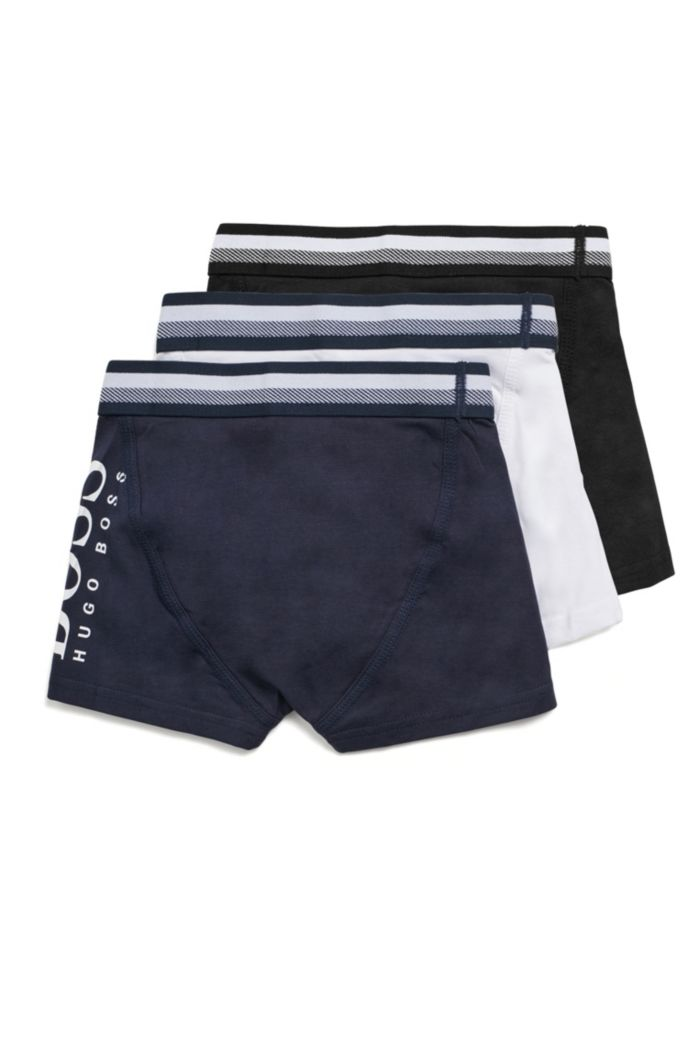 Three-pack of kids' stretch-cotton logo boxer shorts