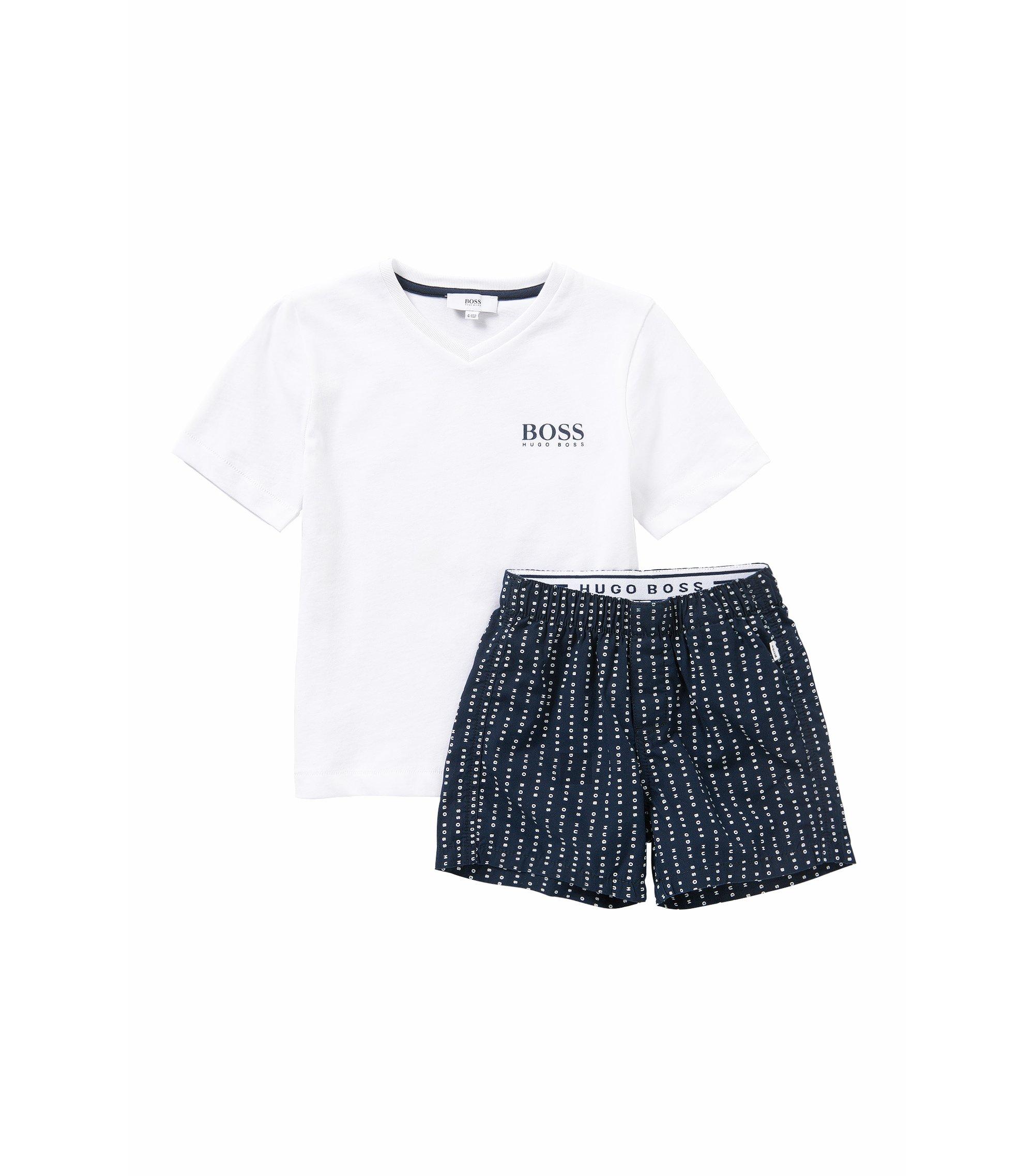 Pyjama pour enfant en coton orné d'inscriptions logo: «J28044», Bleu foncé