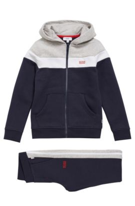 Kids' jacket and tracksuit bottoms in cotton blend: 'J28047', Dark Blue