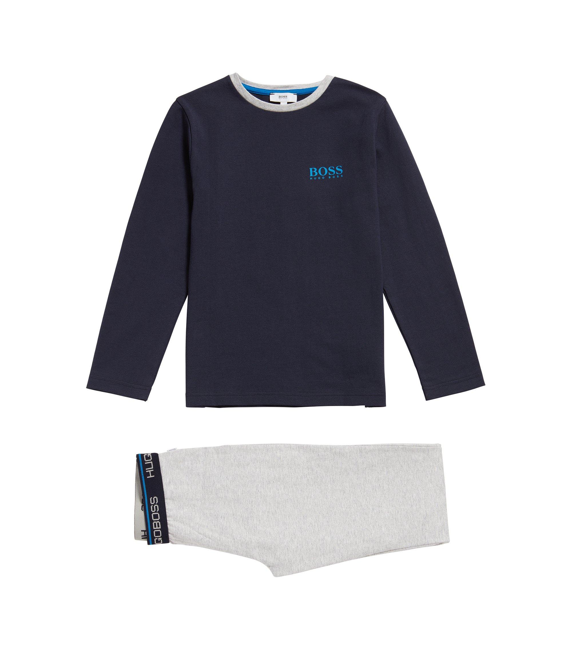 Kids' cotton pyjamas with logo print: 'J28048', Patterned
