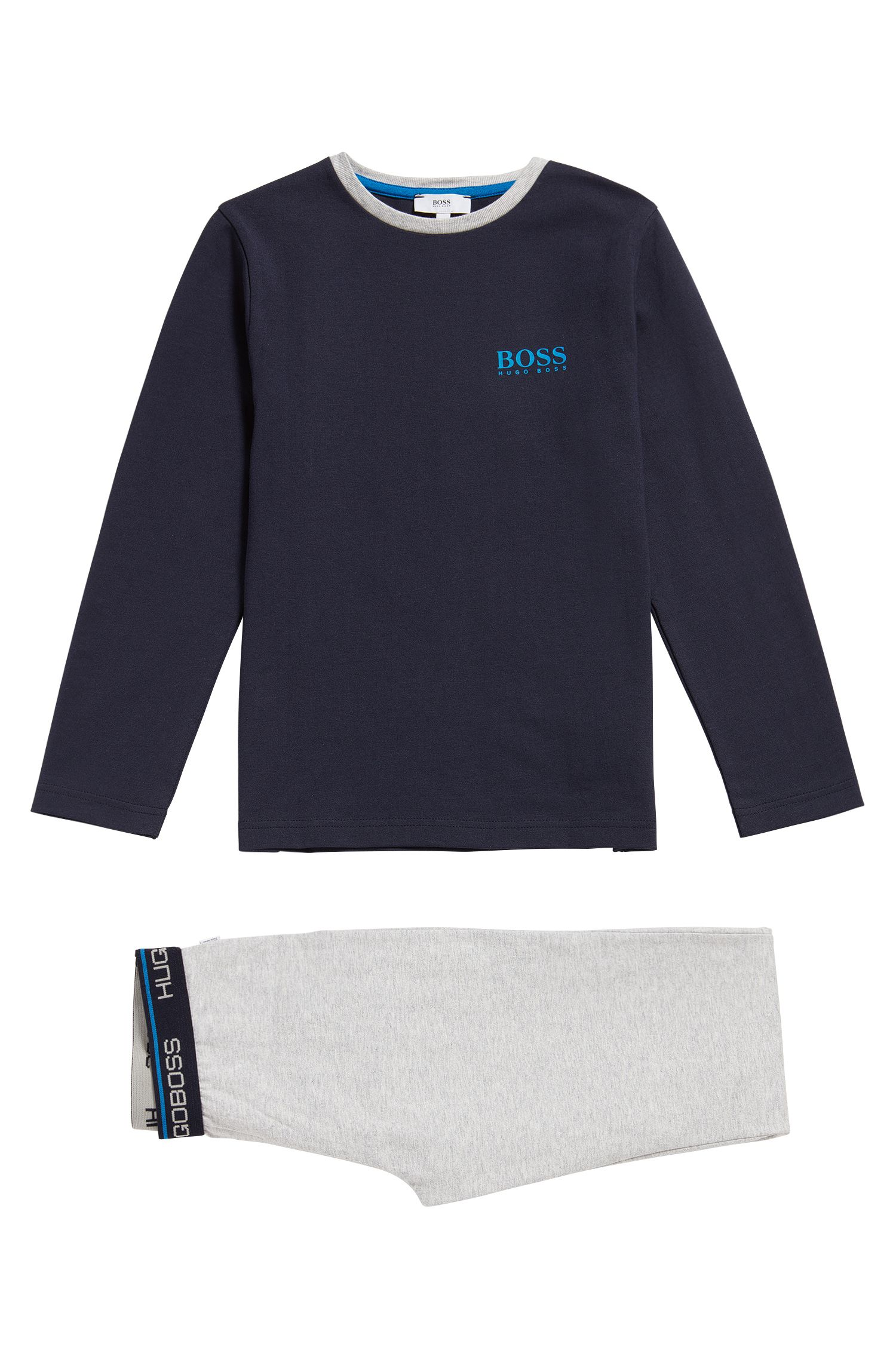 Kids' cotton pyjamas with logo print: 'J28048'