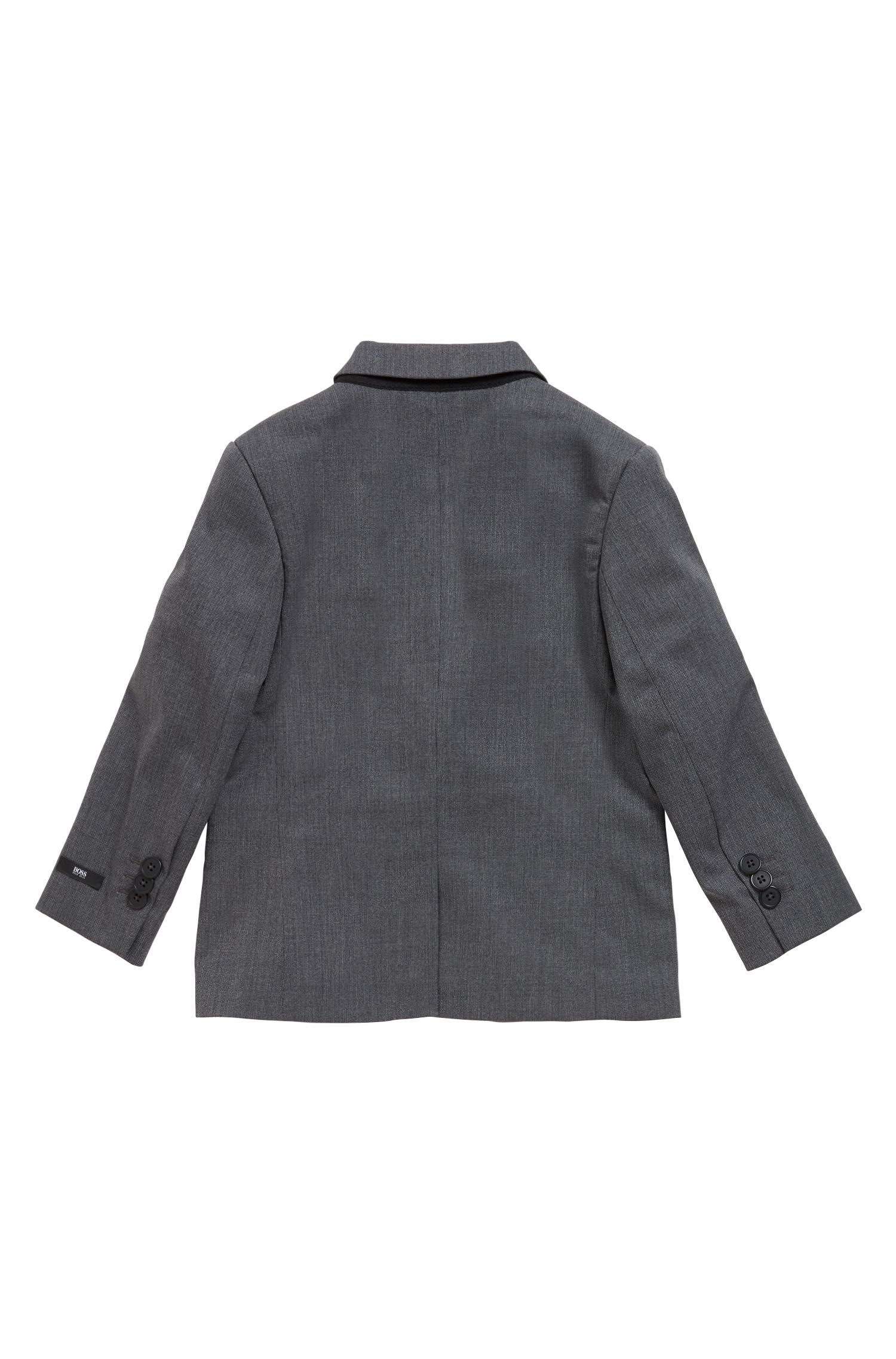 Kids' suit in stretch technical fabric with notch lapels, Patterned