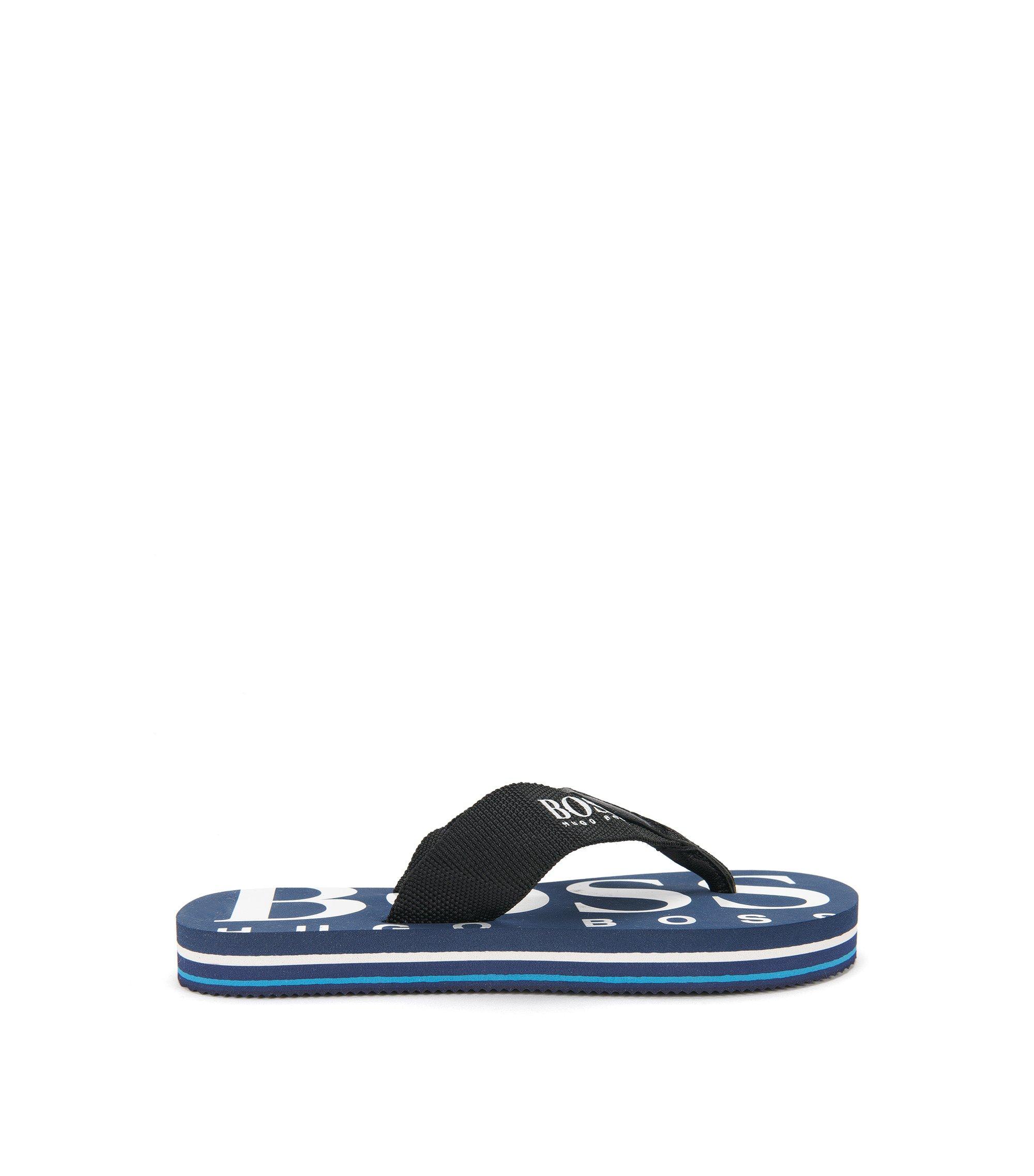 Kids' toe-separator sandals with leather detailing: 'J29110', Dark Blue