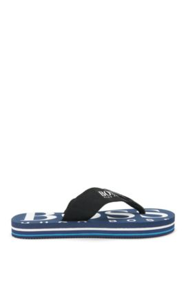 Kids' toe-separator sandals with leather detailing: 'J29110', Dark Blue