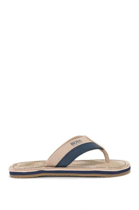Sandalias de piel impresa para niño: 'J29111', Beige