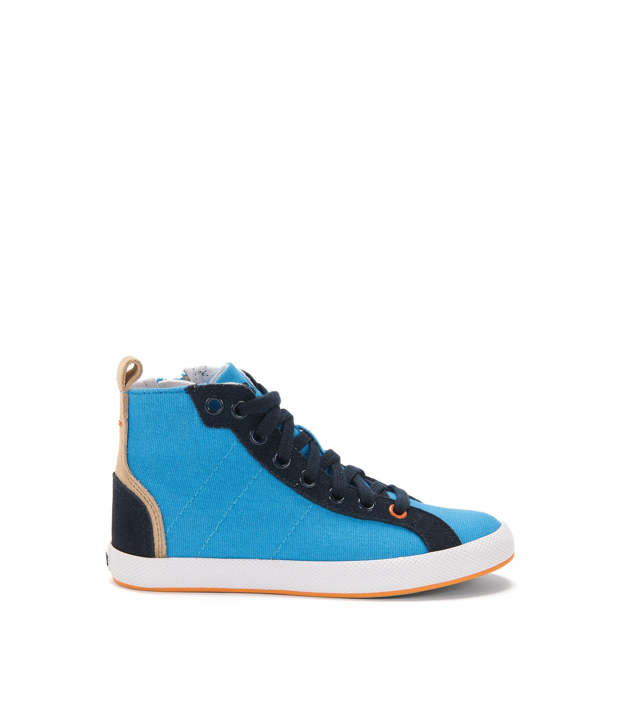 Knöchelhohe Kids-Sneakers aus Canvas mit Lederbesatz: 'J29112', Türkis