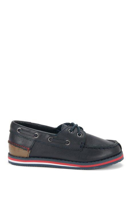 Chaussures bateau pour enfant en cuir: «J29116», Bleu foncé