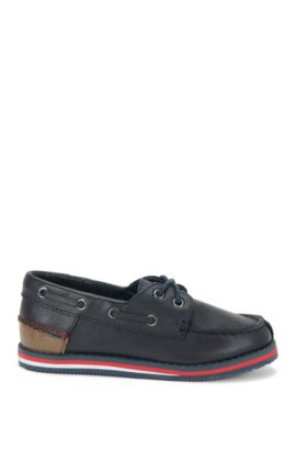 Kids' boat shoes in leather: 'J29116', Dark Blue