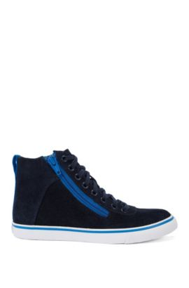 Kids' high-top leather trainers with contrasting details: 'J29121', Dark Blue