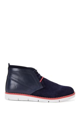 Kids' leather lace-up shoes in a mixture of textures: 'J29124', Dark Blue