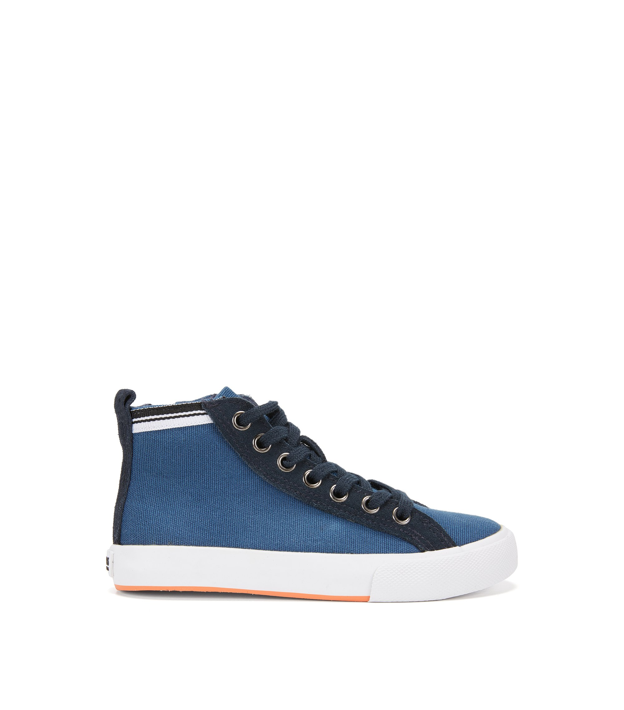 Kids' trainers in cotton and leather trim, Dark Blue
