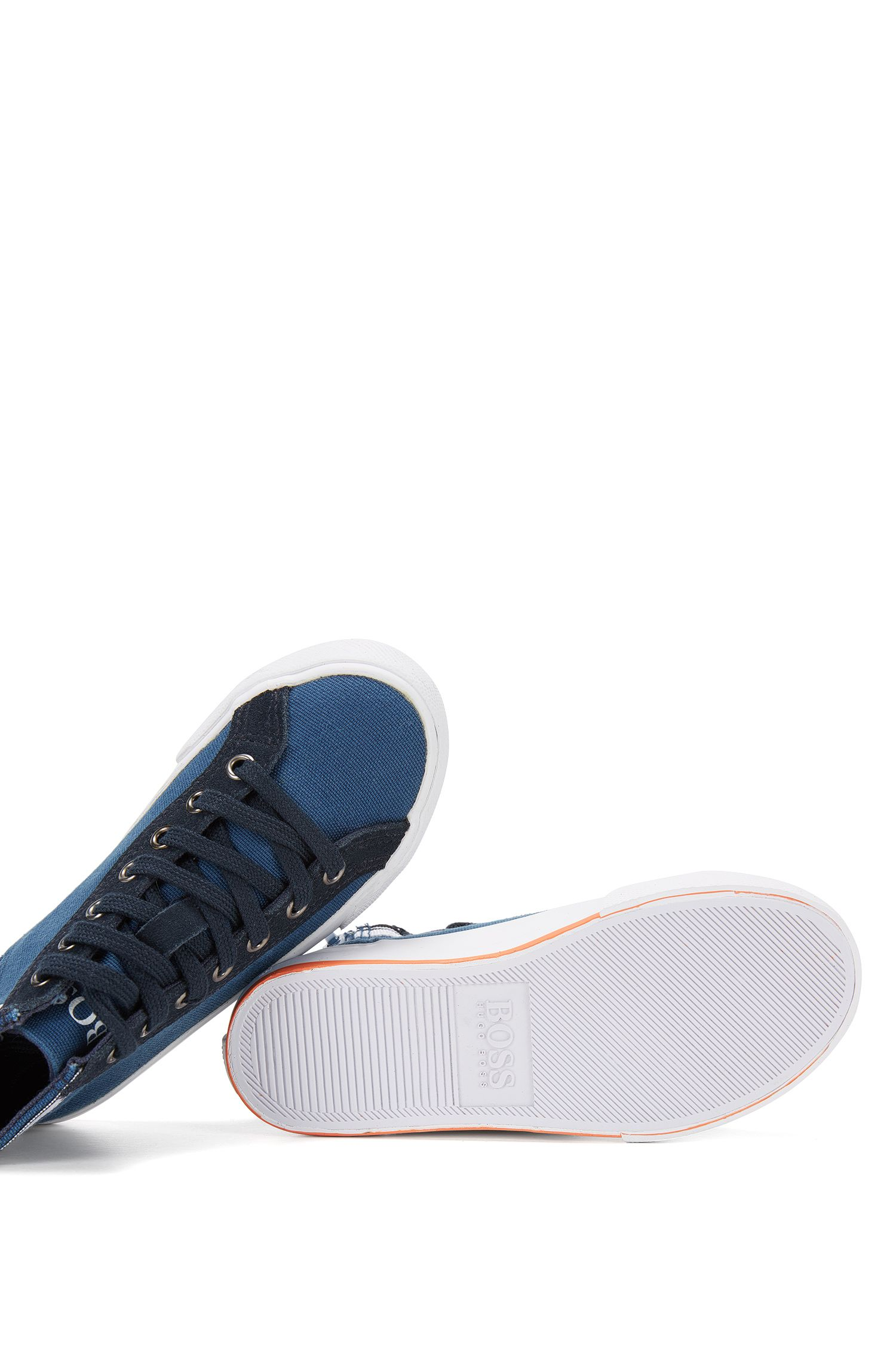 Kids' trainers in cotton and leather trim