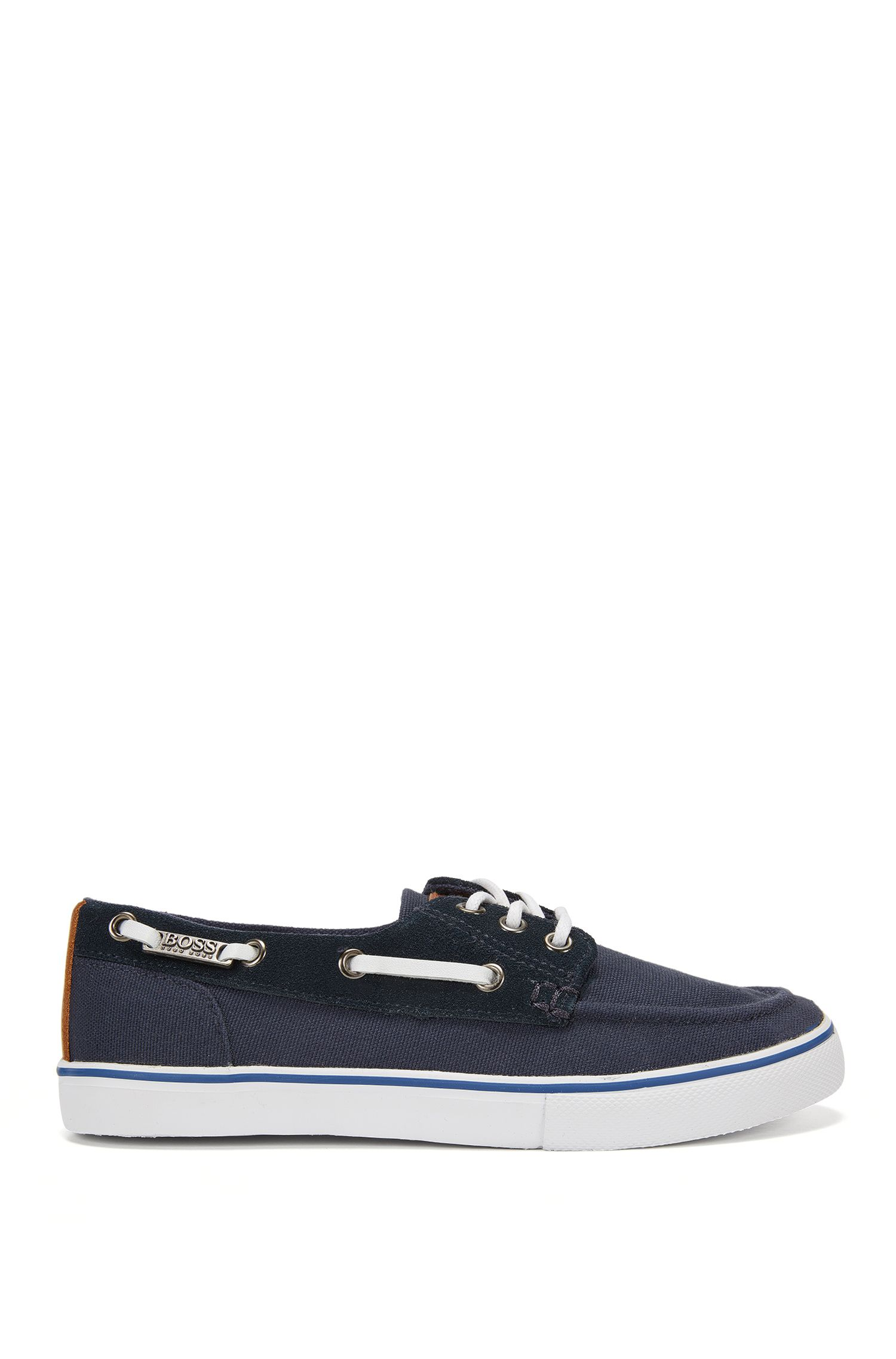 Kids' boat shoes with leather trim: 'J29132'