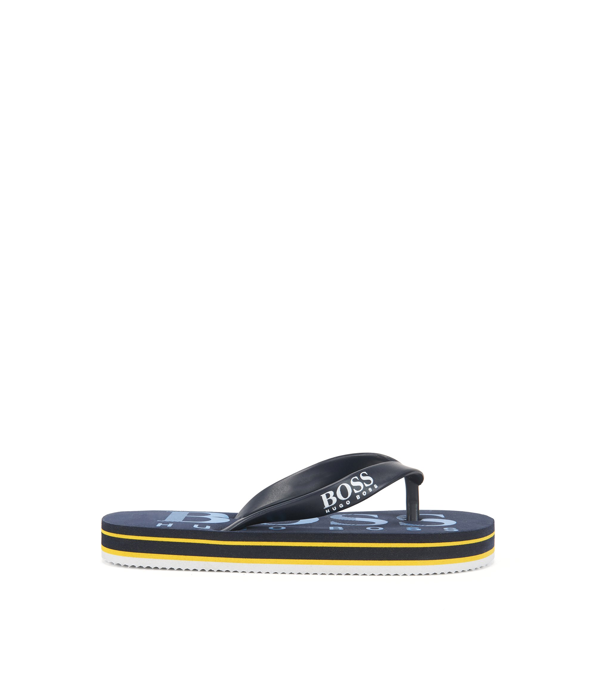Kids' flip-flops with contrast logo, Dark Blue