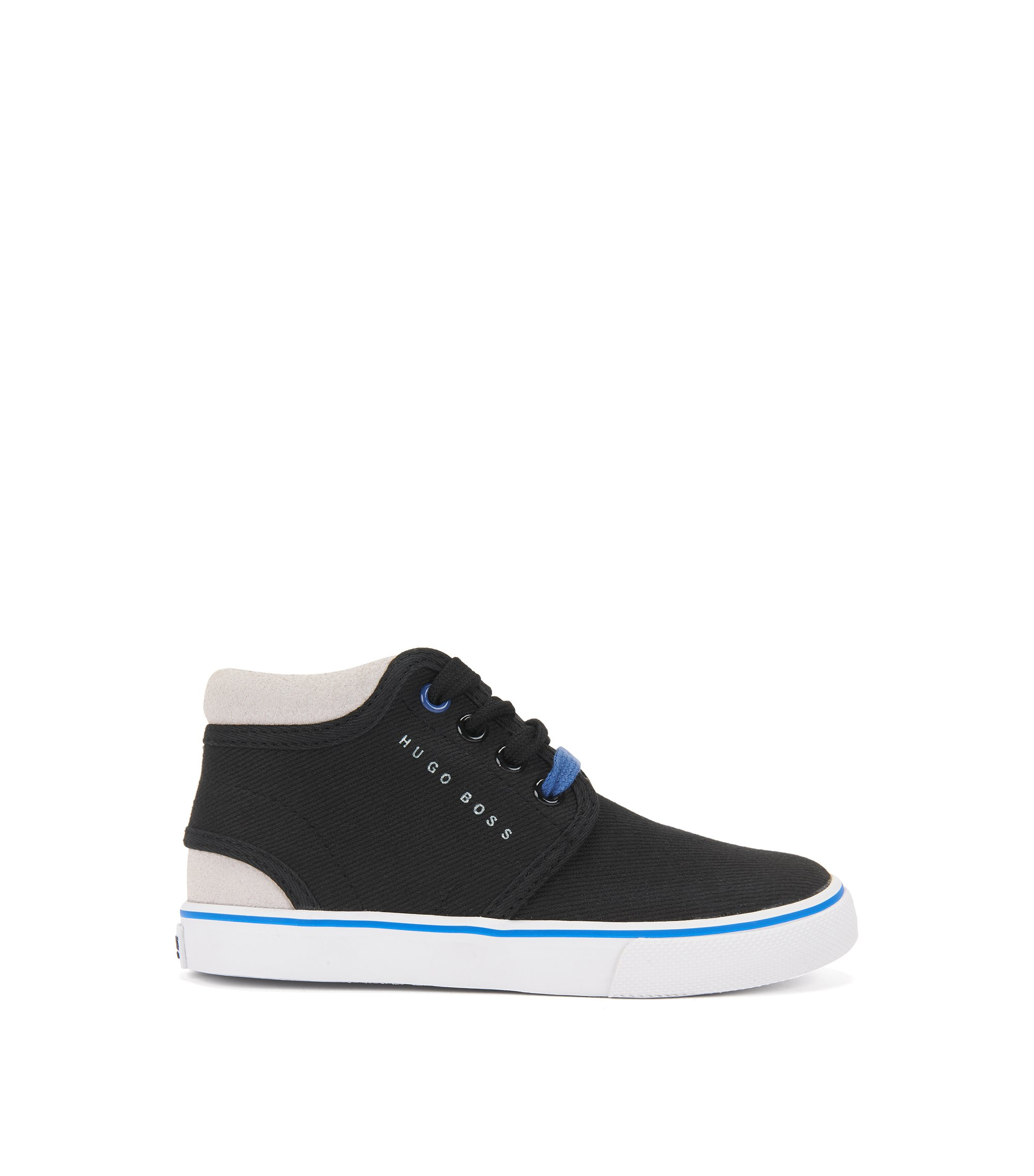 Kids' high-top trainers with cotton uppers, Black