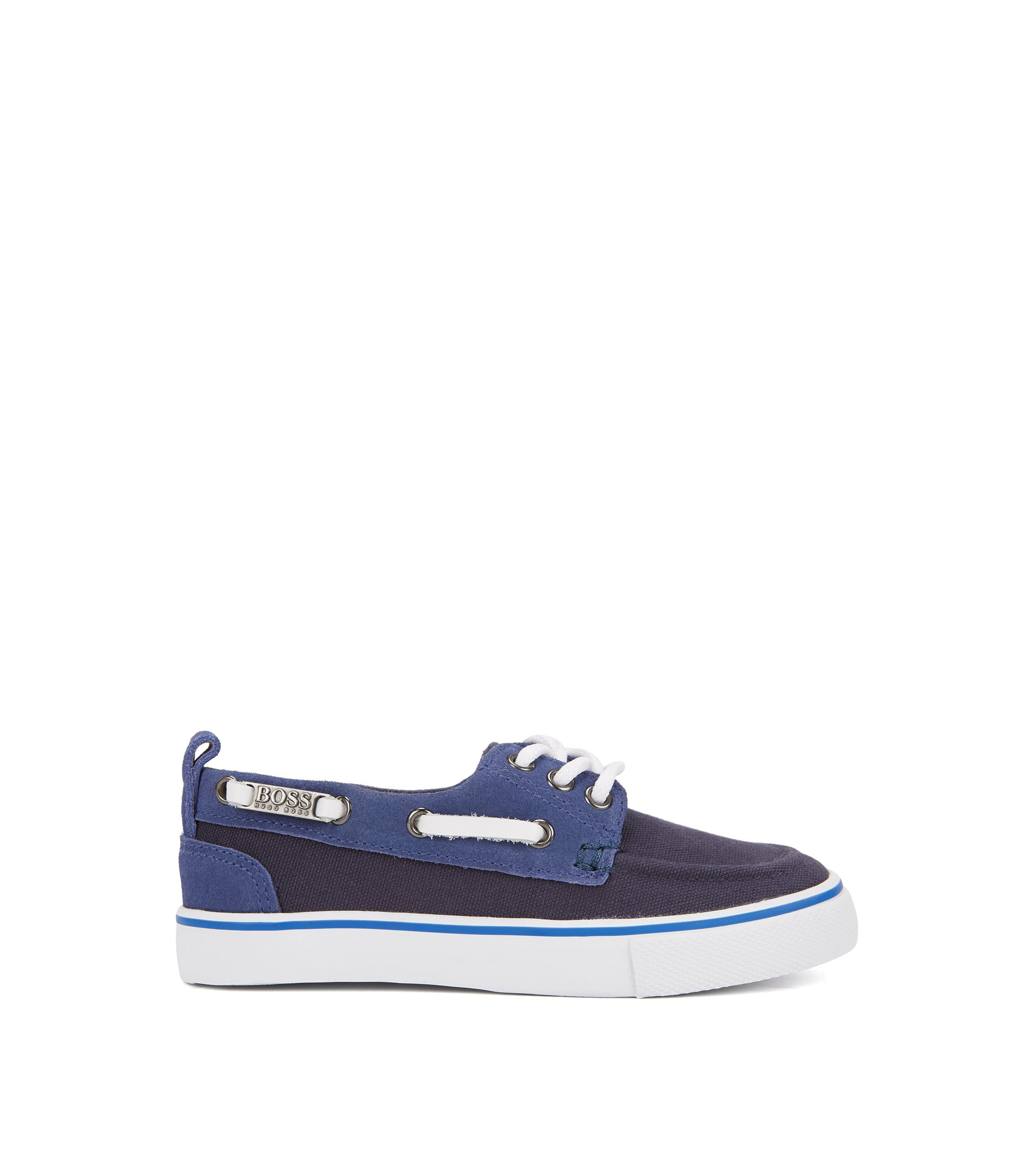 Kids' boat shoes in cotton canvas, Dark Blue