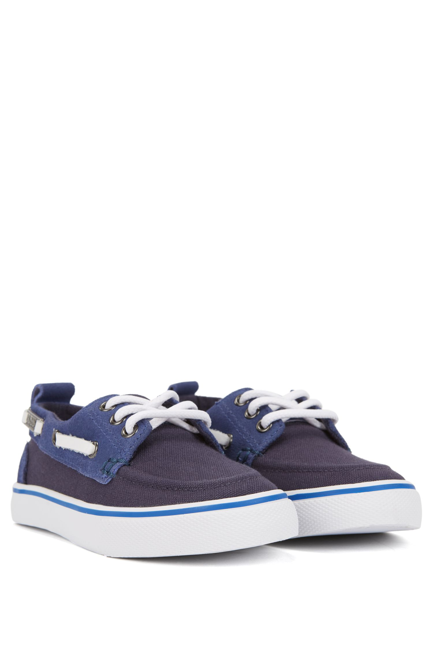 Kids' boat shoes in cotton canvas