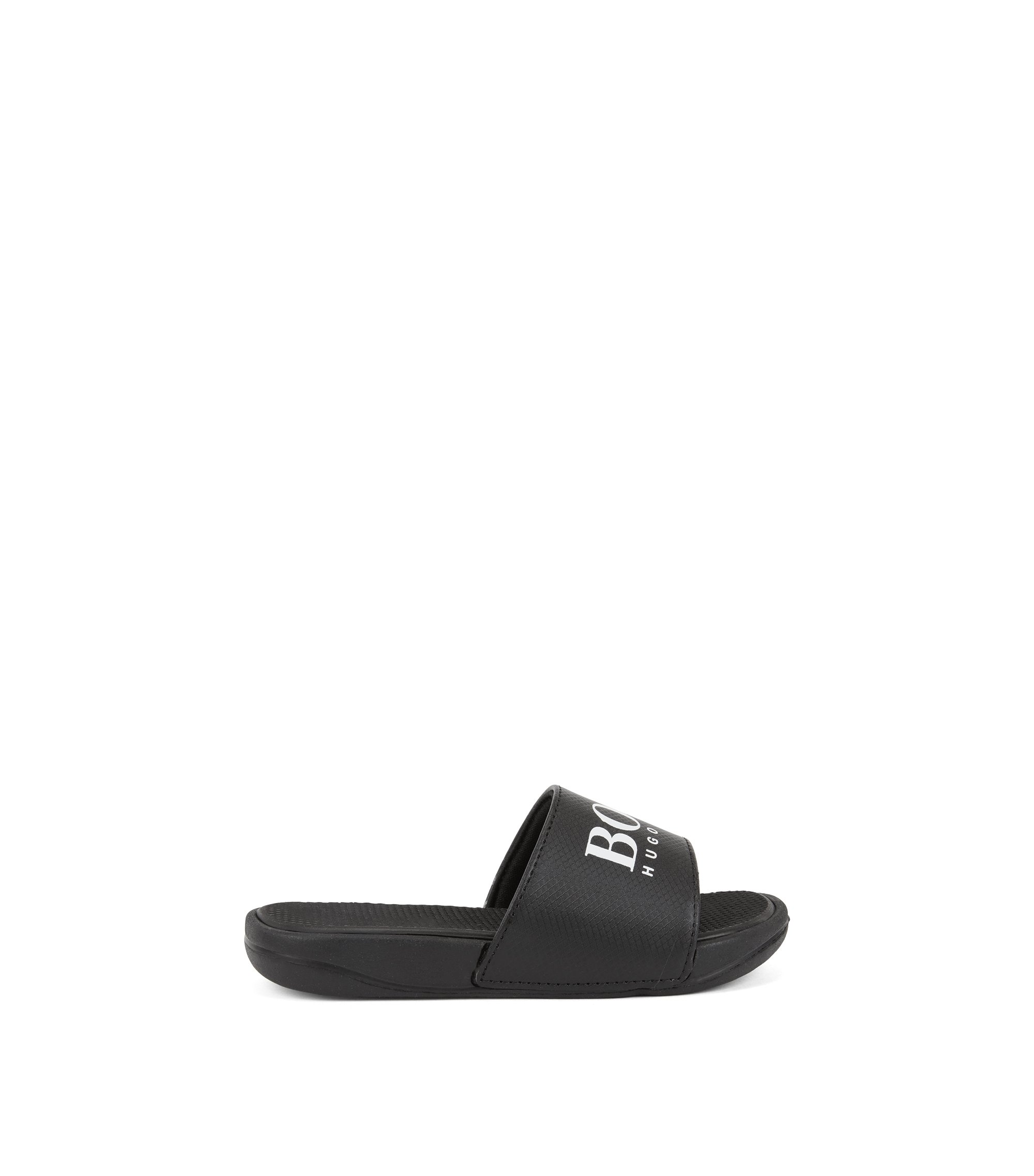 Kids' slide sandals with contrast logo, Black