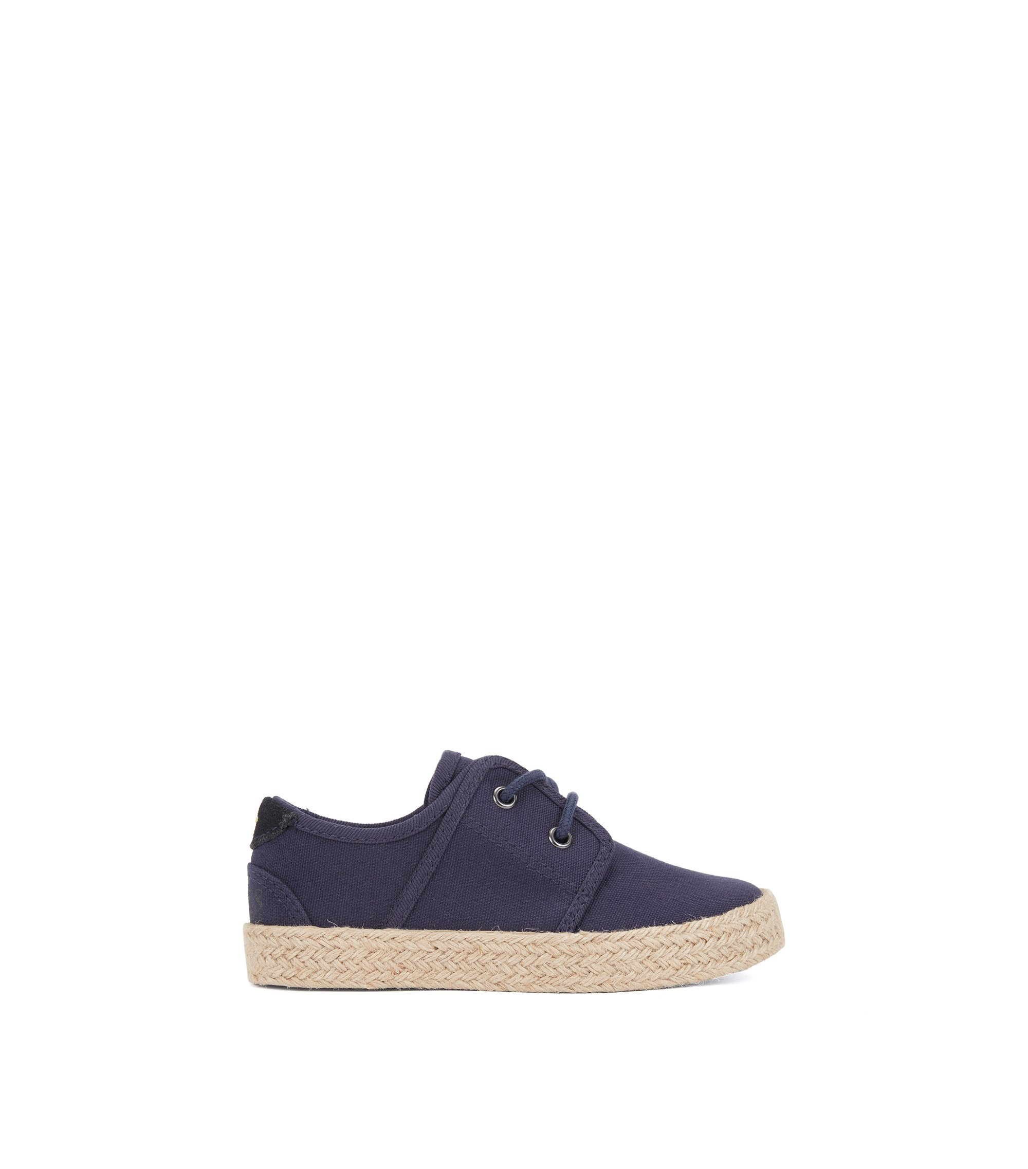 Kids' espadrille-style trainers in cotton canvas, Dark Blue