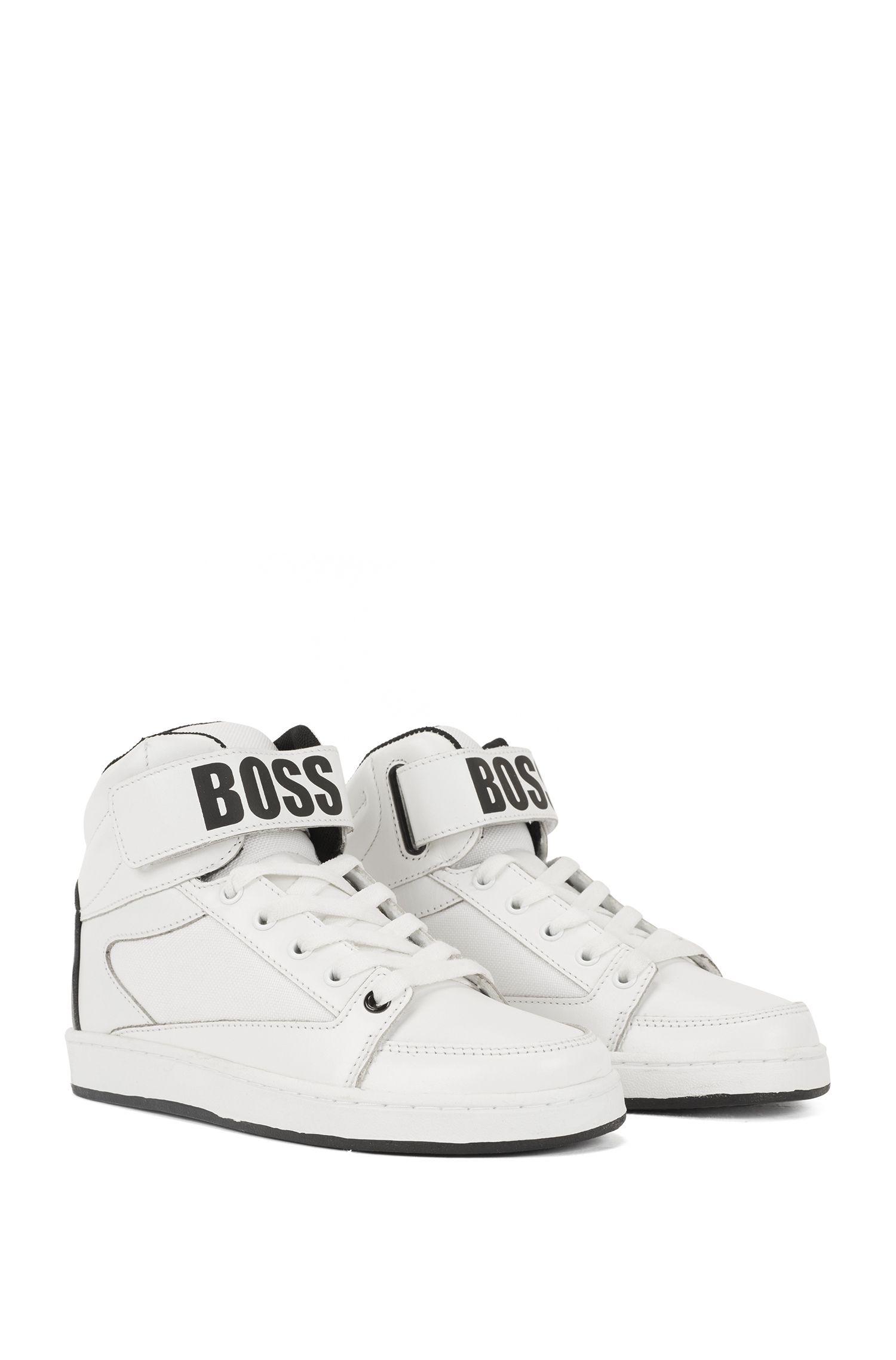 Kids-Sneakers aus Leder mit Logo-Riemen, Weiß