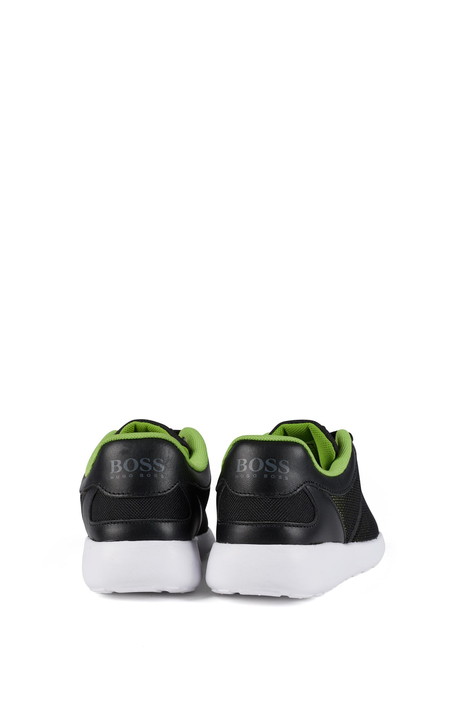 Baskets style chaussures de course à finitions cuir pour enfant, Noir