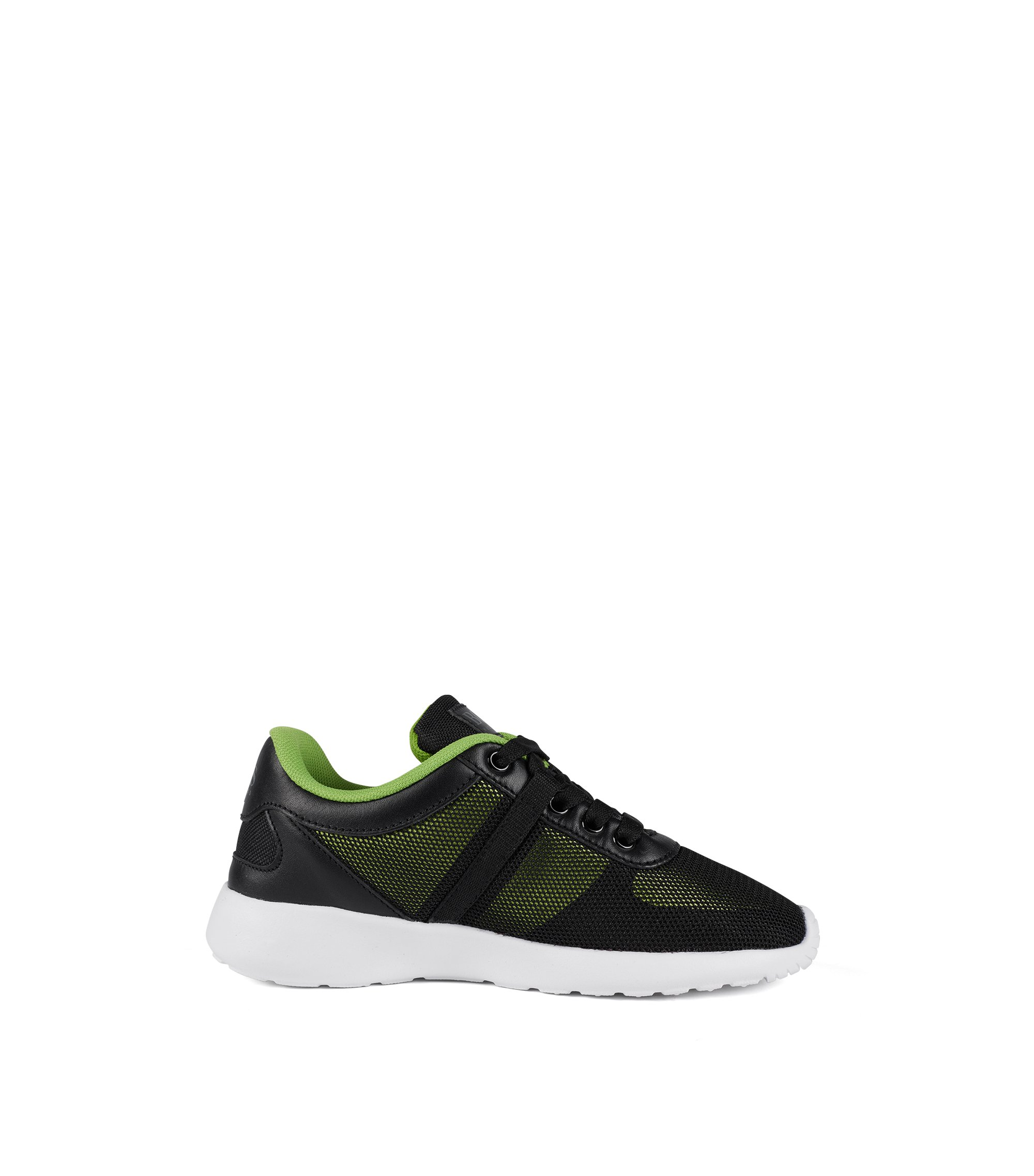 Kids' running-style trainers with leather trims, Black