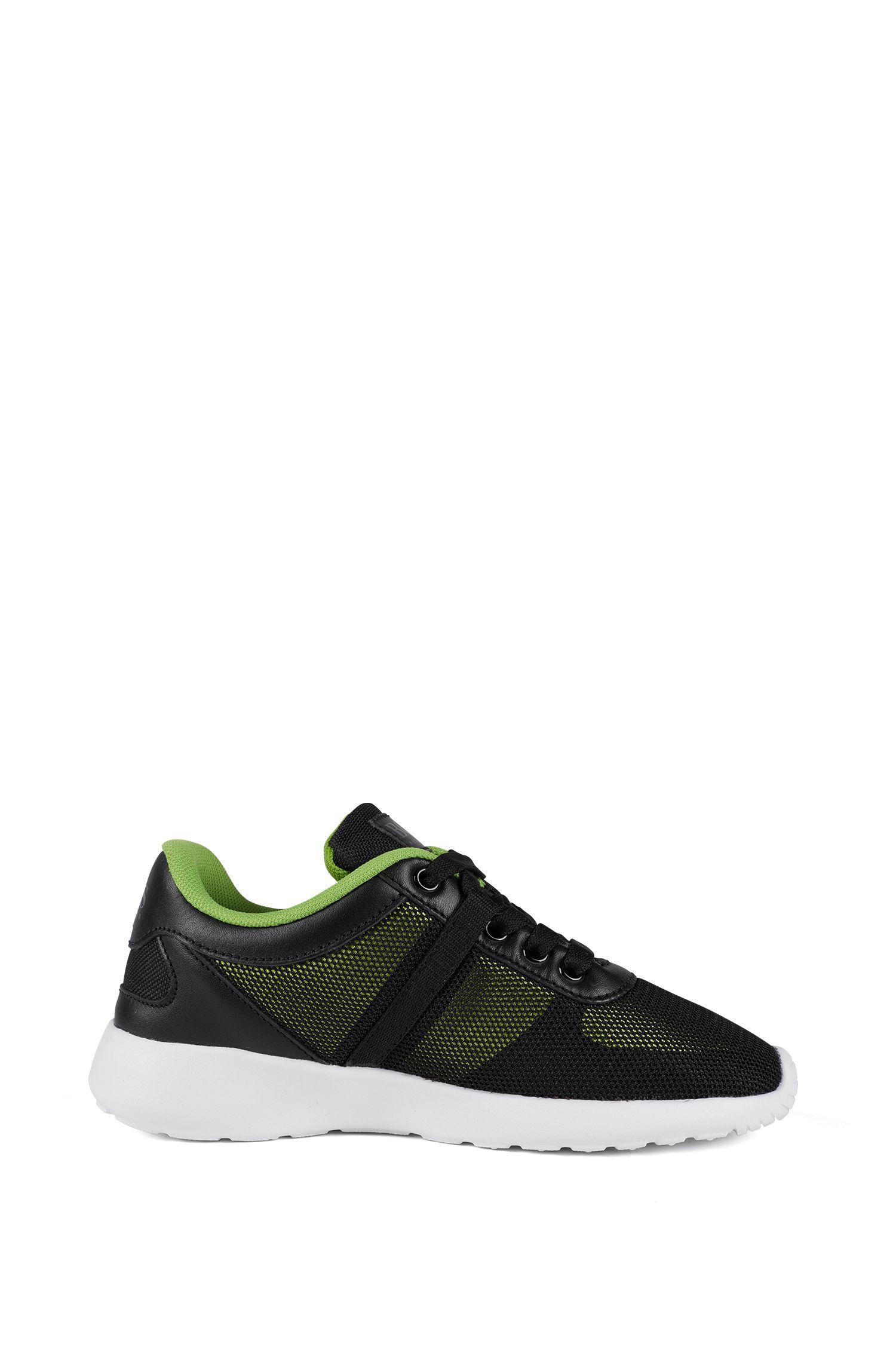 Kids-Sneakers im Laufschuh-Stil mit Lederbesatz, Schwarz