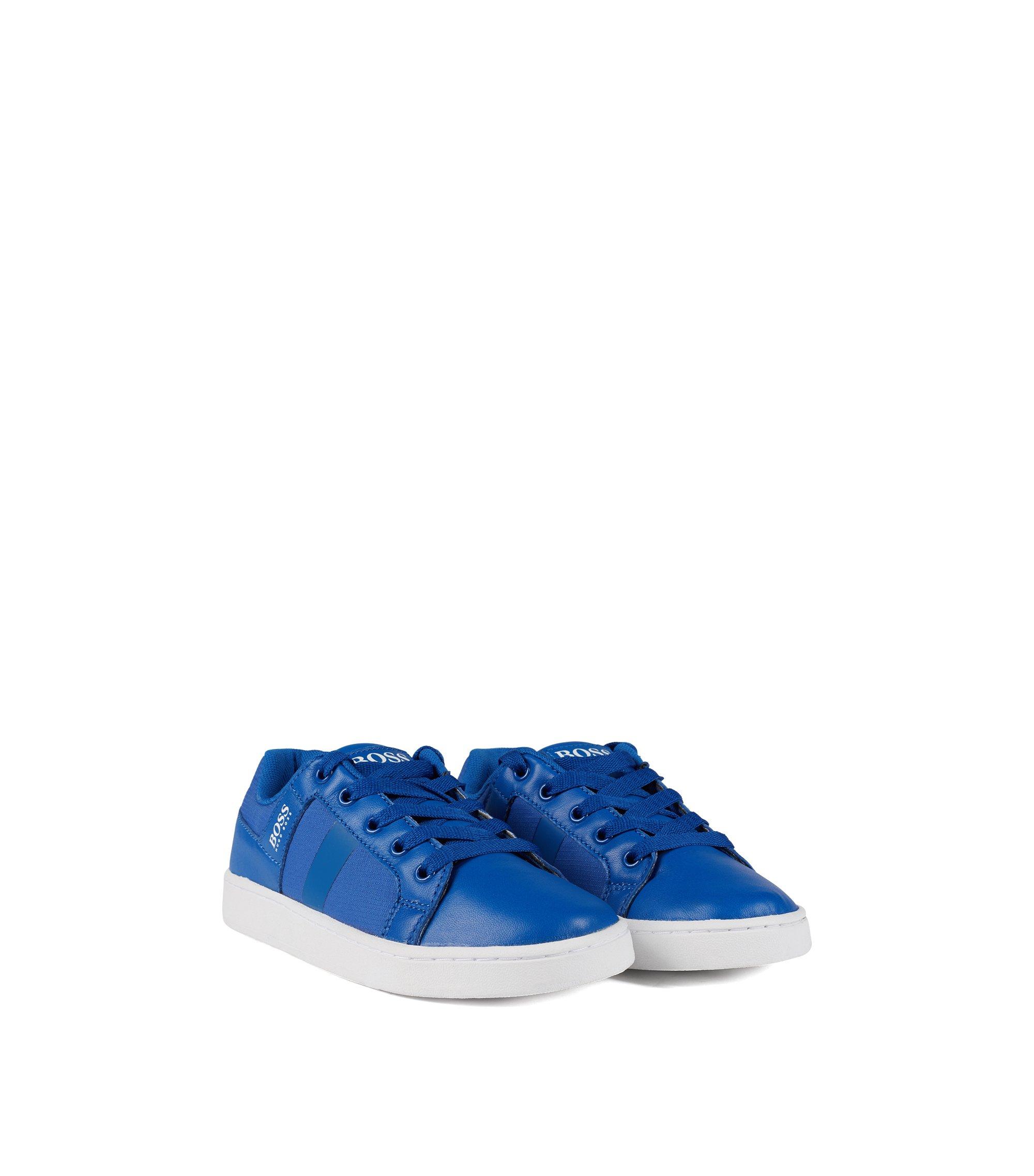 Lage kindersneakers van leer en technisch ripstopmateriaal, Blauw
