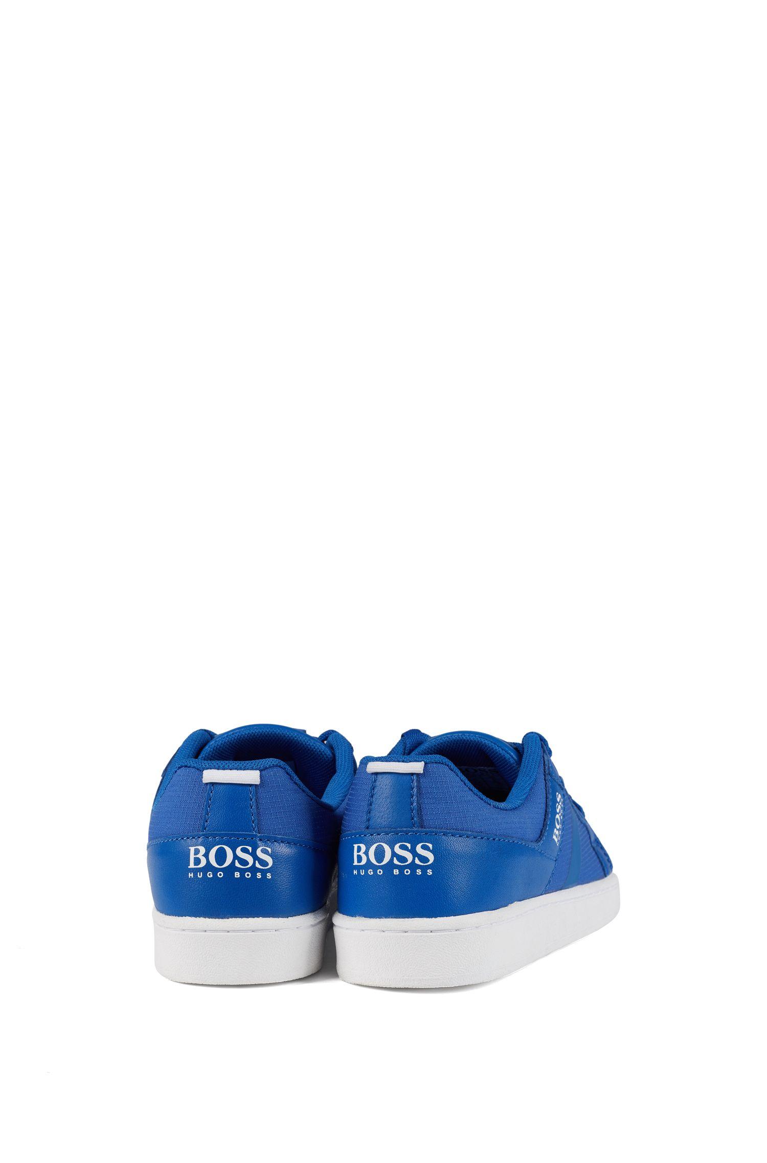 Baskets basses pour enfant en cuir et tissu technique ripstop, Bleu