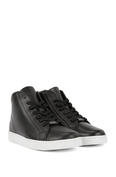 b8b300de2ae3 BOSS - Kids  leather high-top trainers with stamped logo print