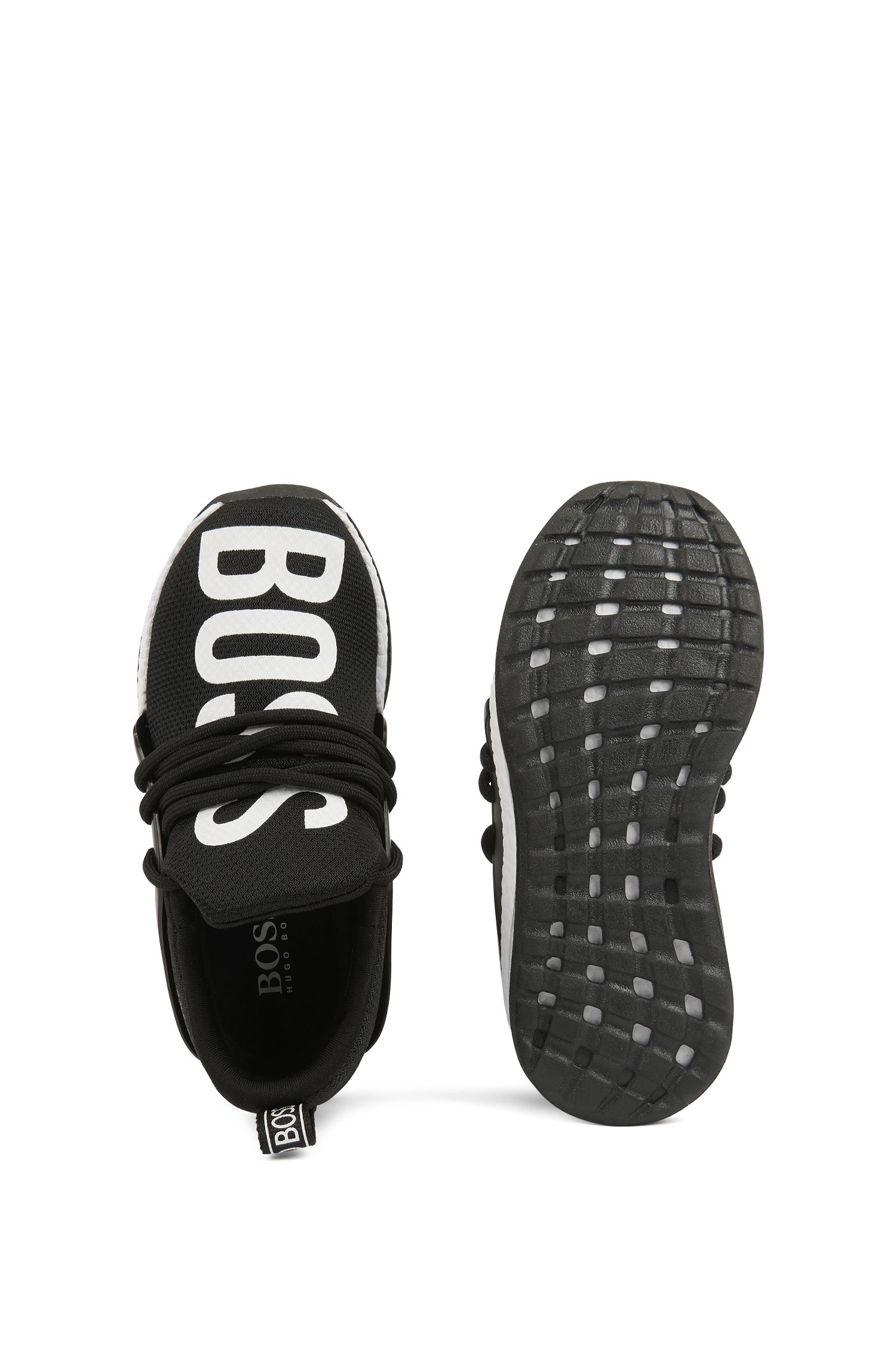 Kids' trainers with large-scale contrast logo, Black