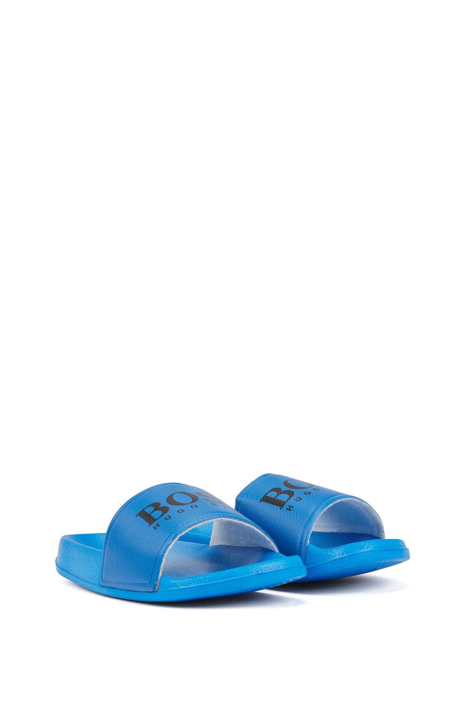 Mules pour enfant avec bride à logo contrastant, Bleu
