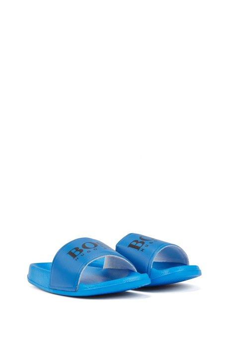 Kids-Slides mit kontrastfarbenem Logo-Riemen, Blau
