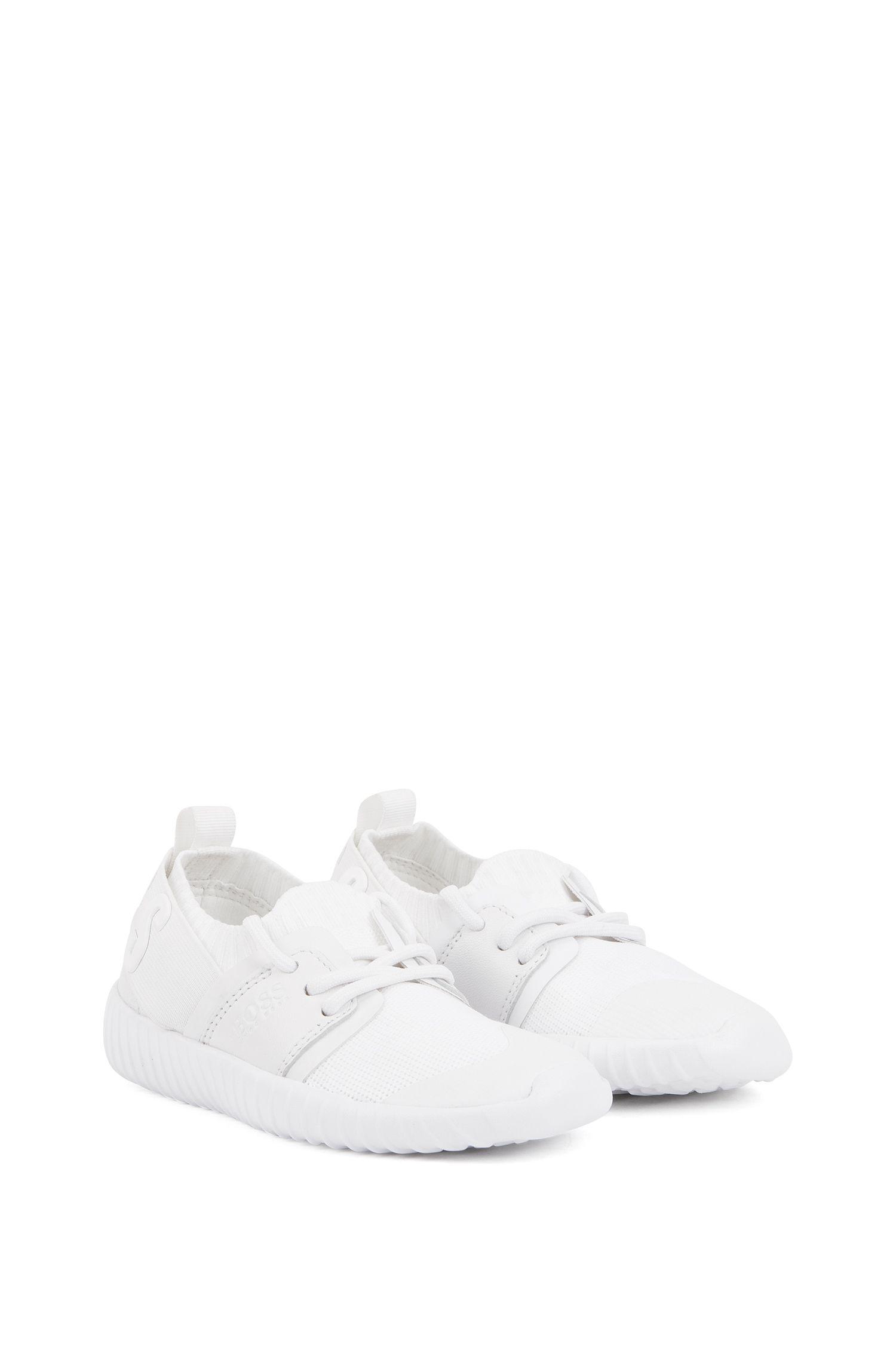 Kids-Sneakers aus Material-Mix mit erhöhtem Logo, Weiß