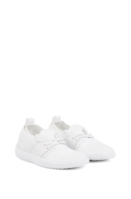 Kids' hybrid trainers with raised logo, White
